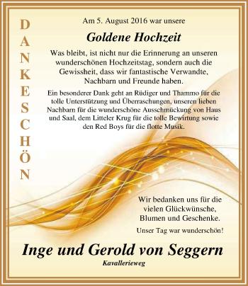 Hochzeitsanzeige von Inge von Seggern von Nordwest-Zeitung