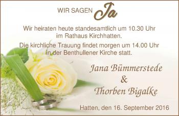 Hochzeitsanzeige von Jana Bümmerstede von Nordwest-Zeitung