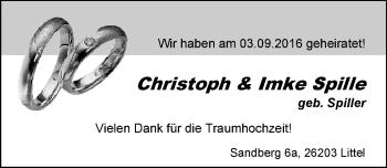 Hochzeitsanzeige von Imke Spille von Nordwest-Zeitung