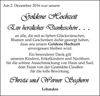 Hochzeitsanzeige von Christa Seghorn von Nordwest-Zeitung