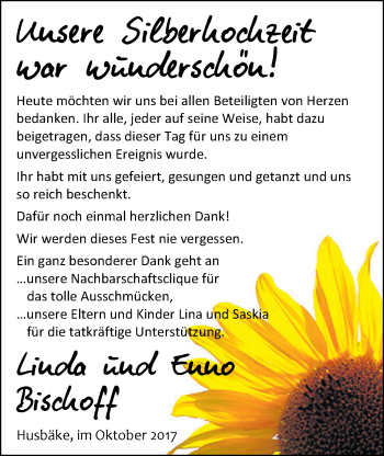 Hochzeitsanzeige von Linda Bischoff von Nordwest-Zeitung