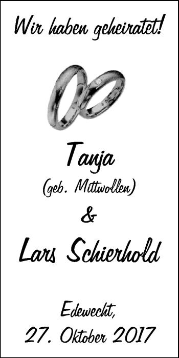 Hochzeitsanzeige von Tanja Schierhold von Nordwest-Zeitung