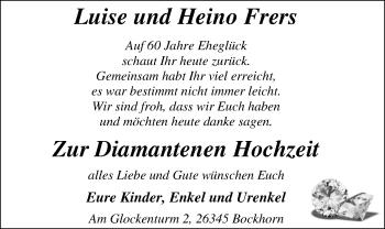 Hochzeitsanzeige von Luise Frers von Nordwest-Zeitung