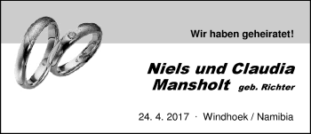 Hochzeitsanzeige von Niels Mansholt von Nordwest-Zeitung