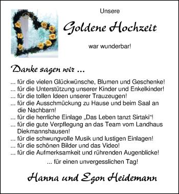 Hochzeitsanzeige von Hanna Heidemann von Nordwest-Zeitung