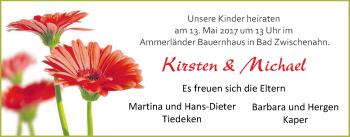 Hochzeitsanzeige von Kirsten  von Nordwest-Zeitung