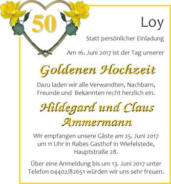 Hochzeitsanzeige von Hildegard Ammermann von Nordwest-Zeitung