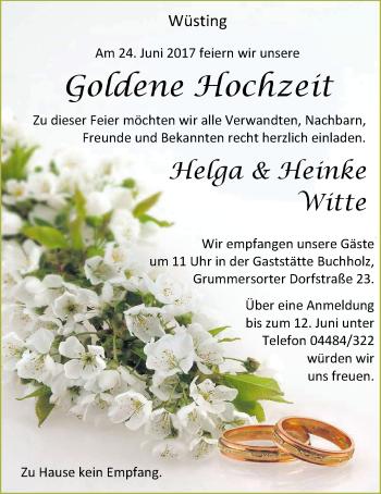 Hochzeitsanzeige von Helga Witte von Nordwest-Zeitung