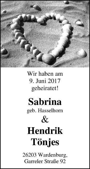 Hochzeitsanzeige von Sabrina Tönjes von Nordwest-Zeitung