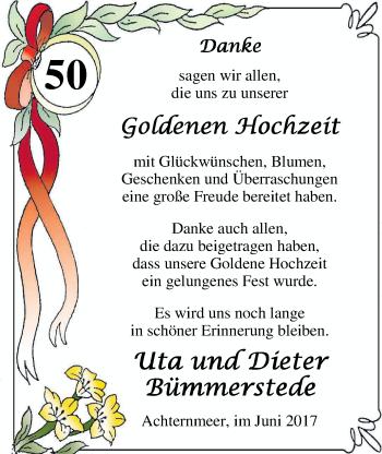 Hochzeitsanzeige von Uta Bümmerstede von Nordwest-Zeitung