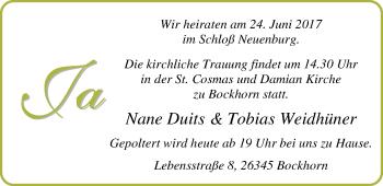 Hochzeitsanzeige von Nane Duits von Nordwest-Zeitung