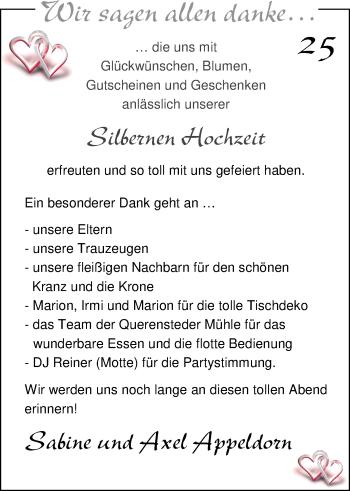 Hochzeitsanzeige von Sabine Appeldorn von Nordwest-Zeitung