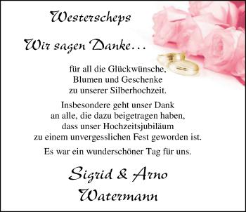 Hochzeitsanzeige von Sigrid Watermann von Nordwest-Zeitung