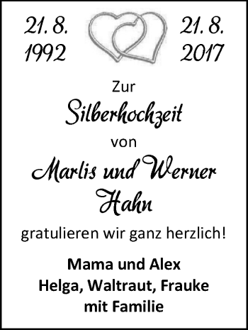 Hochzeitsanzeige von Marlis Hahn von Nordwest-Zeitung