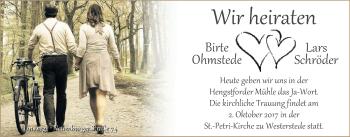Hochzeitsanzeige von Birte Schröder von Nordwest-Zeitung