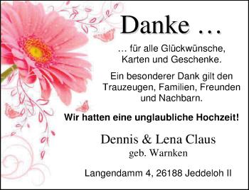 Hochzeitsanzeige von Lena Claus von Nordwest-Zeitung