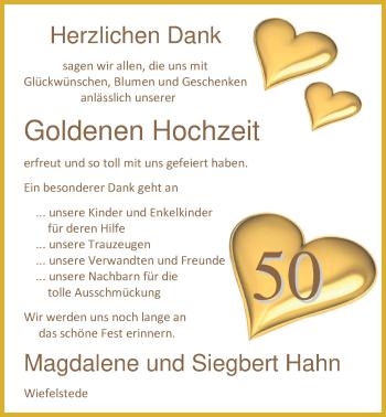 Hochzeitsanzeige von Magdalene Hahn von Nordwest-Zeitung