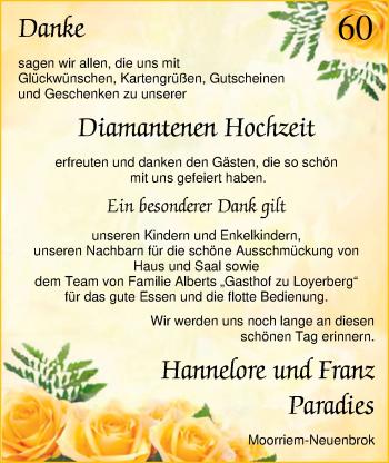 Hochzeitsanzeige von Hannelore Paradies von Nordwest-Zeitung