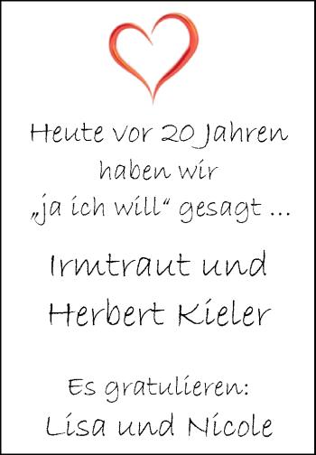 Hochzeitsanzeige von Irmtraut Kieler von Nordwest-Zeitung