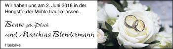 Hochzeitsanzeige von Beate Blendermann von Nordwest-Zeitung