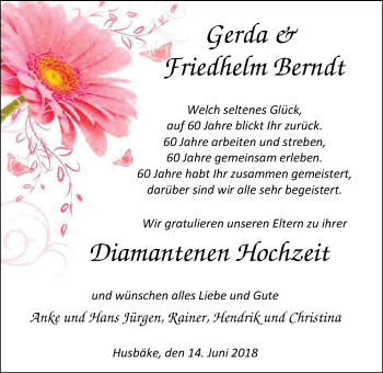 Hochzeitsanzeige von Gerda  Berndt von Nordwest-Zeitung