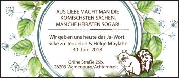 Hochzeitsanzeige von Silke zu Jeddeloh von Nordwest-Zeitung