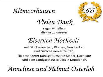 Hochzeitsanzeige von Anneliese Osterloh von Nordwest-Zeitung