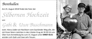 Hochzeitsanzeige von Gabi Buschmann von Nordwest-Zeitung