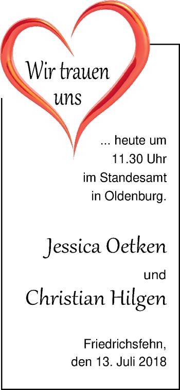 Hochzeitsanzeige von Jessica  von Nordwest-Zeitung