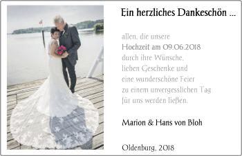 Hochzeitsanzeige von Marion von Bloh von Nordwest-Zeitung