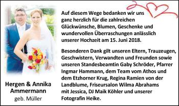 Hochzeitsanzeige von Annika Ammermann von Nordwest-Zeitung