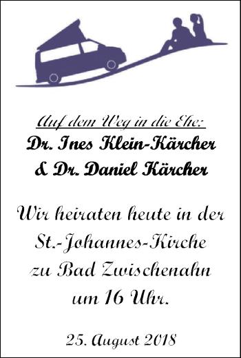 Hochzeitsanzeige von Dr. Ines Klein-Kärcher von Nordwest-Zeitung