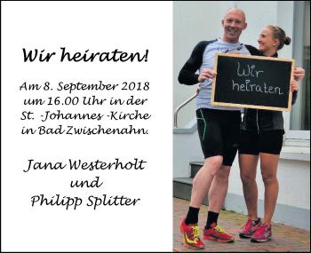 Hochzeitsanzeige von Jana Westerholt von Nordwest-Zeitung