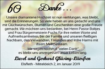 Hochzeitsanzeige von Gerhard Glüsing-Lüerßen von Nordwest-Zeitung