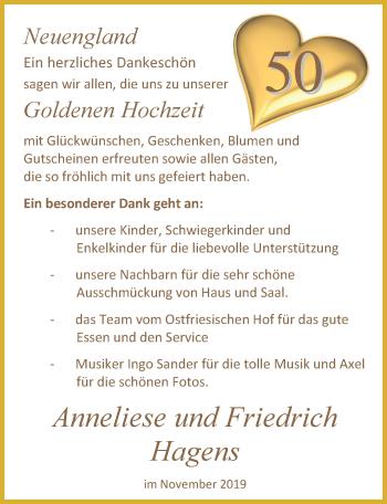 Hochzeitsanzeige von Anneliese Hagens von Nordwest-Zeitung