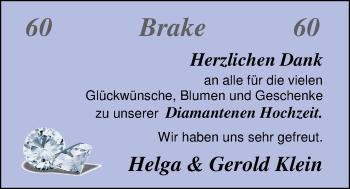Hochzeitsanzeige von Helga Klein von Nordwest-Zeitung