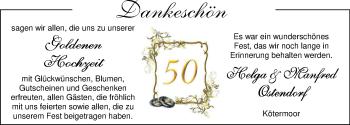 Hochzeitsanzeige von Helga Ostendorf von Nordwest-Zeitung