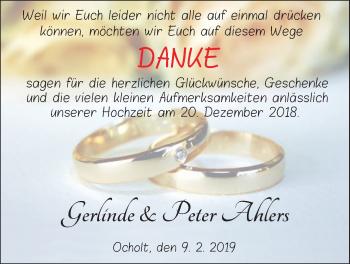 Hochzeitsanzeige von Peter Ahlers von Nordwest-Zeitung
