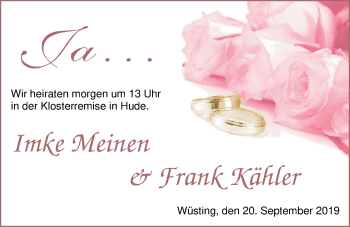 Hochzeitsanzeige von Imke Meinen von Nordwest-Zeitung