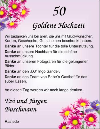 Hochzeitsanzeige von Evi Buschmann von Nordwest-Zeitung