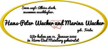 Hochzeitsanzeige von Hans-Peter Wacker von Nordwest-Zeitung